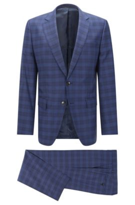 Glen Plaid Italian Virgin Wool Silk Suit, Slim Fit | Huge/Genius, Dark Blue