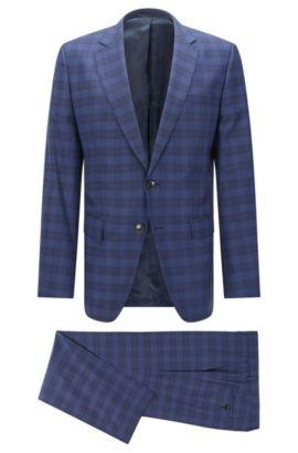 Glen Plaid Italian Virgin Wool Silk Suit, Slim Fit | Huge/Genius, Dark Blue