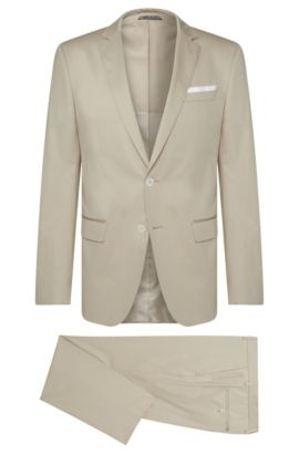 Stretch Cotton Suit, Slim Fit | Hutson/Gander, Open Beige