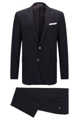 Stretch Cotton Suit, Slim Fit | Hutson/Gander, Dark Blue