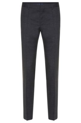 'Benso' | Slim Fit, Super 100 Virgin Wool Dress Pants, Dark Blue