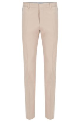 'Bevan' | Slim Fit, Stretch Cotton Trousers, Open Beige