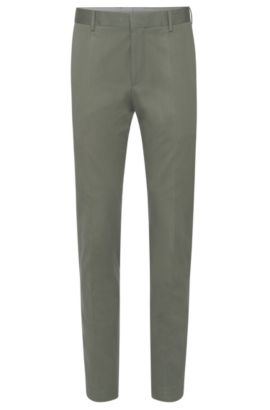 'Bevan' | Slim Fit, Stretch Cotton Trousers, Dark Green