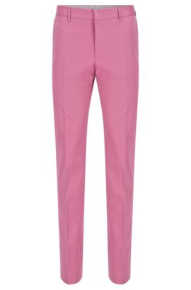 'Bevan' | Slim Fit, Stretch Cotton Trousers, Pink