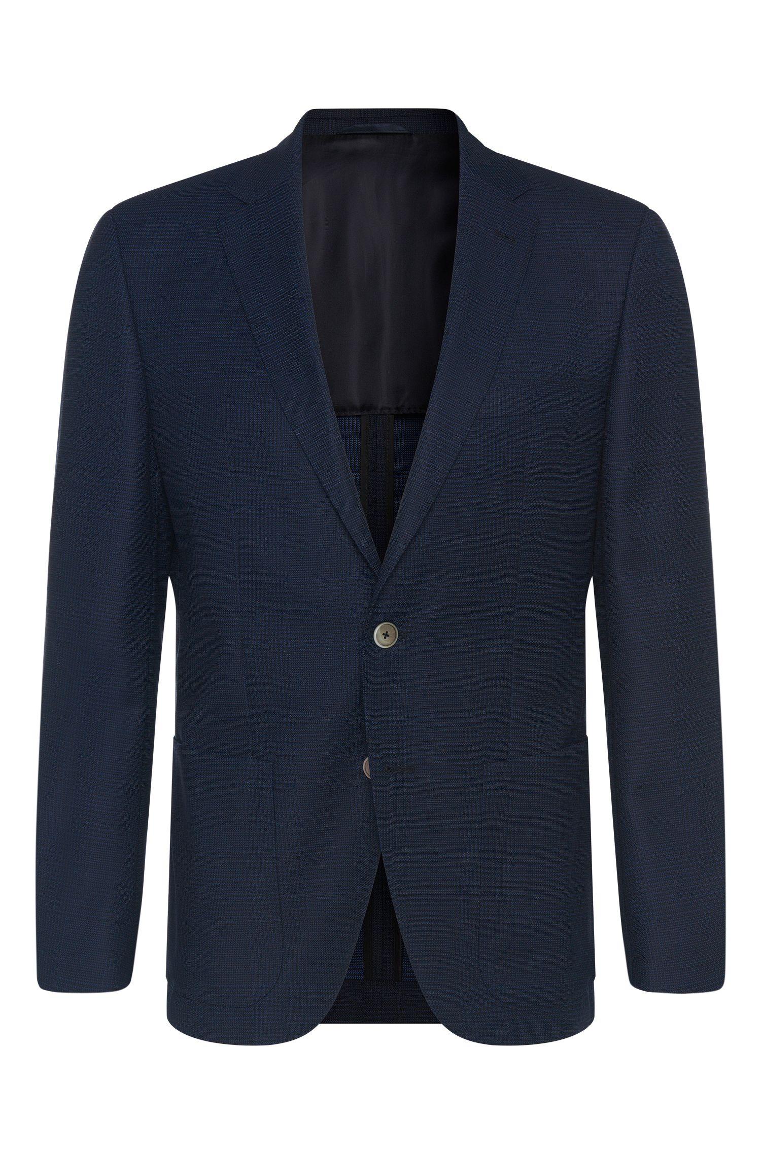 Patterned Italian Virgin Wool Silk Sport Coat, Regular Fit   Janson