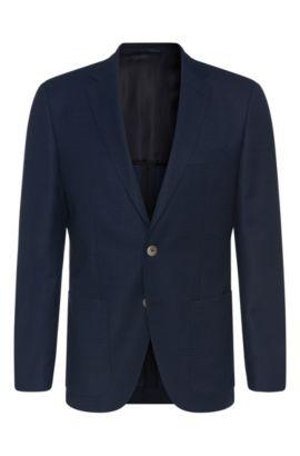 Patterned Italian Virgin Wool Silk Sport Coat, Regular Fit | Janson, Open Blue