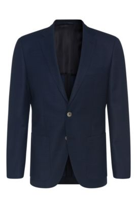 'Janson' | Regular Fit, Italian Virgin Wool Silk Patterned Sport Coat, Open Blue