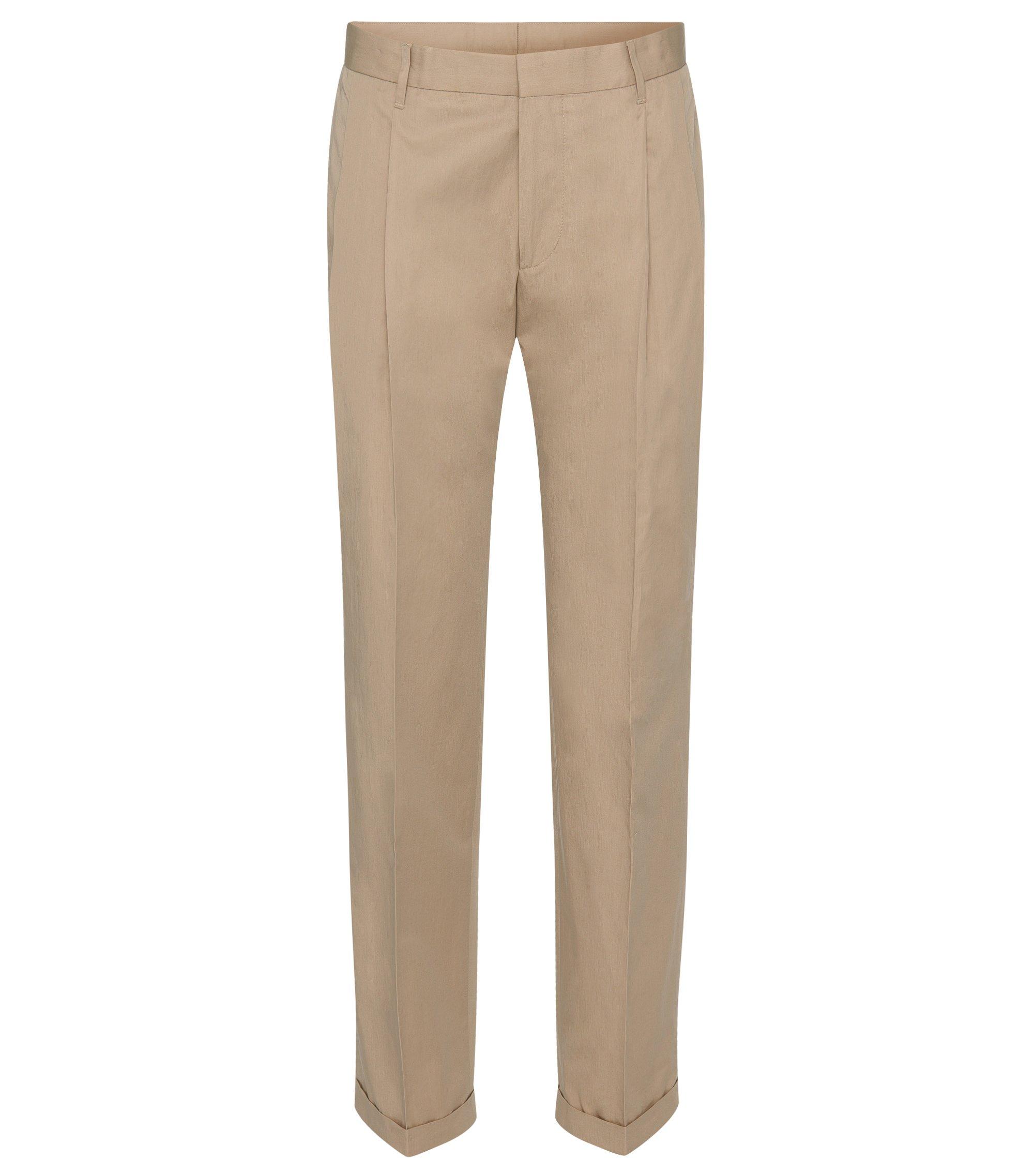 Cotton Pleated Pant, Slim Fit | Paton, Open Beige