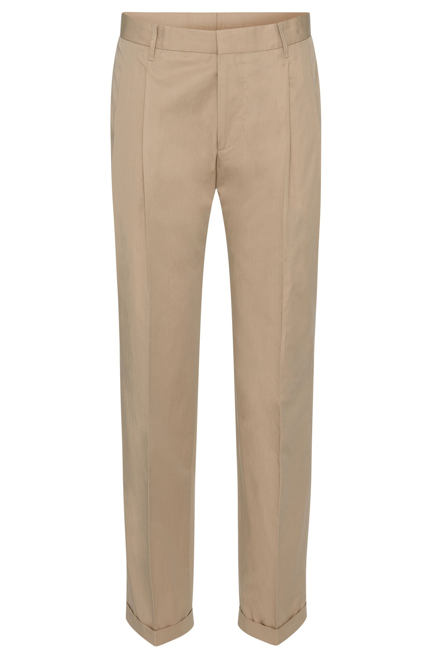 'Paton' | Slim Fit, Cotton Pleated Trousers