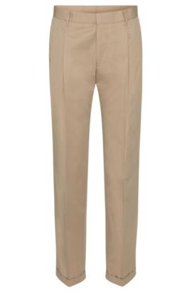 'Paton' | Slim Fit, Cotton Pleated Trousers, Open Beige