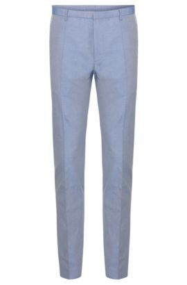 'Weldon' | Extra Slim Fit, Cotton Piped Dress Pants, Blue