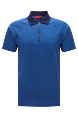 Cotton Textured Polo Shirt, Slim Fit | Dericsson, Blue