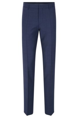 'Genesis' | Slim Fit, Virgin Wool Dress Pants, Blue