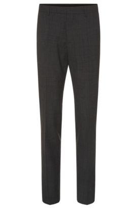 'Genesis' | Slim Fit, Virgin Wool Patterned Dress Pants, Charcoal