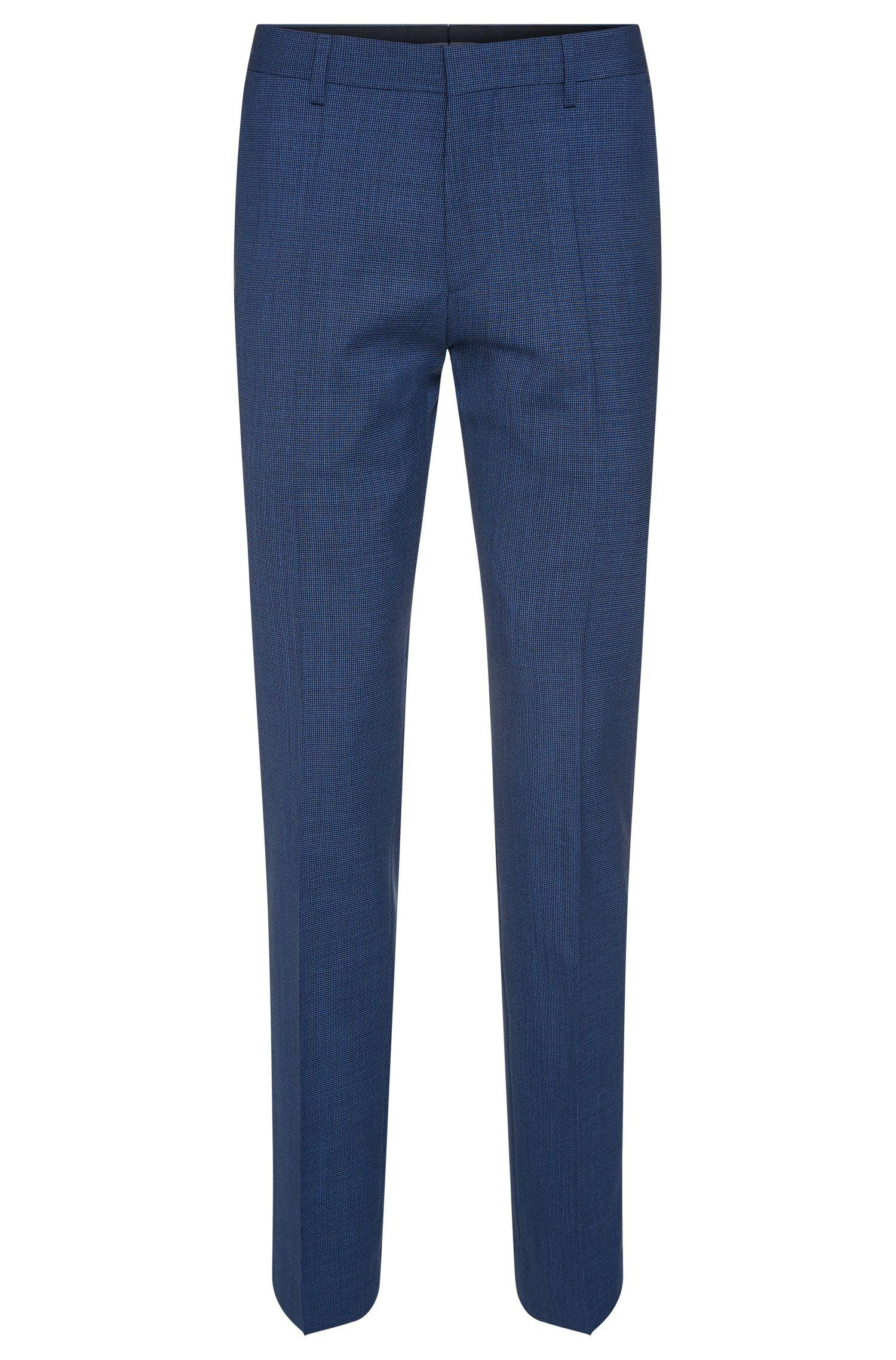 Virgin Wool Patterned Dress Pant, Slim Fit | Genesis, Blue