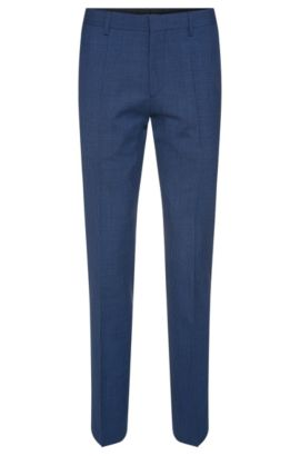 'Genesis' | Slim Fit, Virgin Wool Patterned Dress Pants, Blue