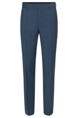 'Genesis' | Slim Fit, Virgin Wool Cashmere Dress Pants, Open Blue