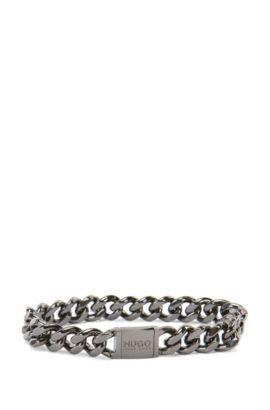 'E-Hugochain' | Silver-Plated Brass Bracelet, Dark Grey