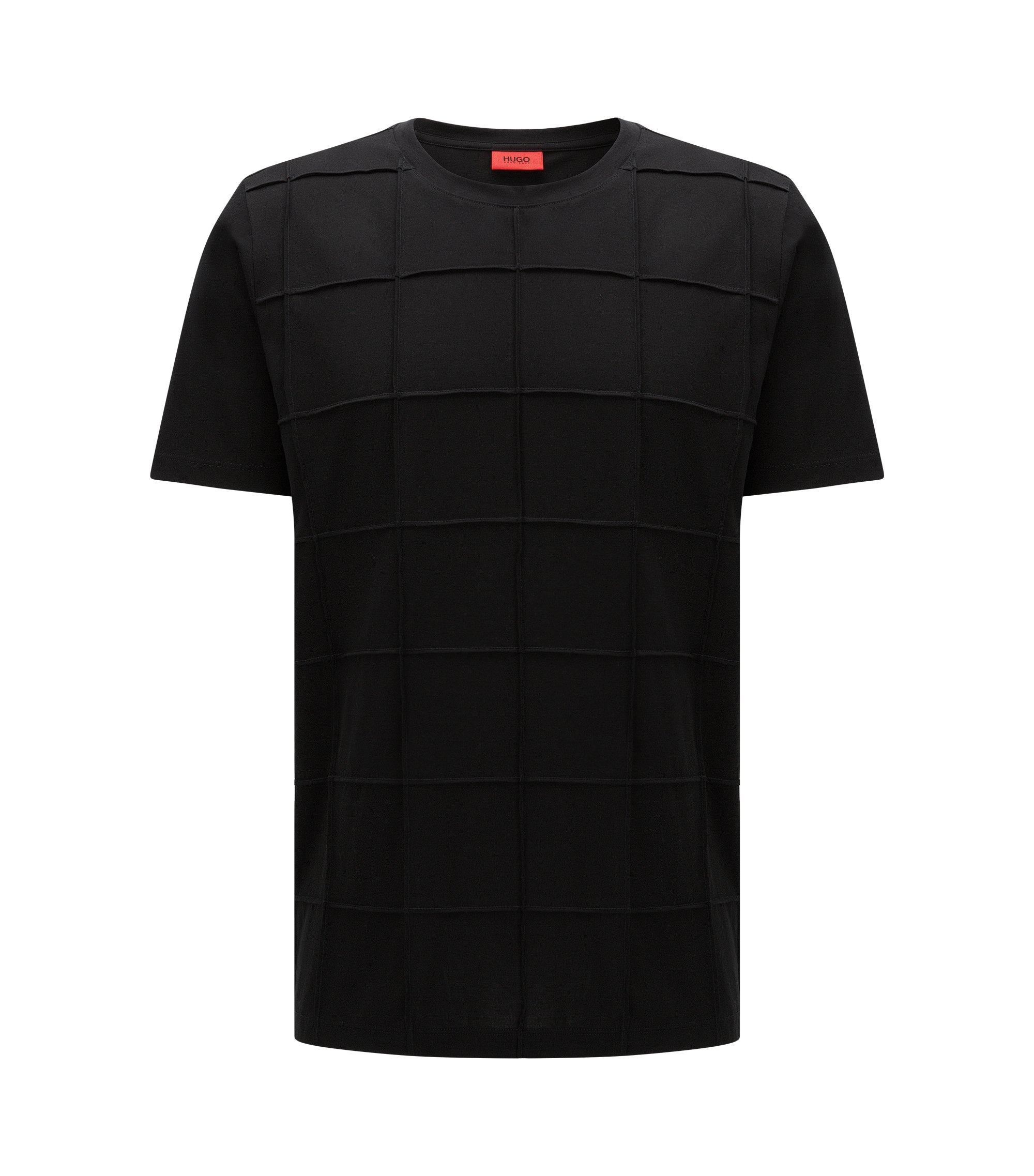 Cotton Pintucked T-Shirt | Devy, Black