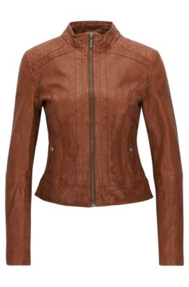 'Janabelle' | Sheepskin Leather Jacket, Light Brown