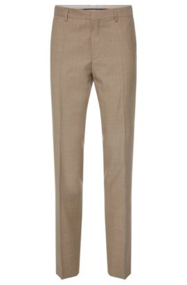'Genesis' | Slim Fit, Italian Super 110 Virgin Wool Dress Pants, Open Beige
