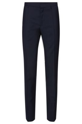 'Weldon' | Extra Slim Fit, Virgin Wool Dress Pants, Dark Blue