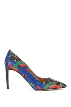 'Staple P' | Italian Calfskin Printed Pump, Black