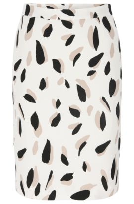 'Vimena' | Stretch Viscose Printed Pencil Skirt, Patterned