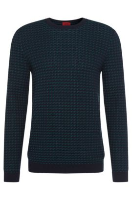 'Srid' | Cotton Patterned Sweater, Green
