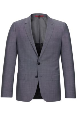 'C-Huge' | Slim Fit, Super 100 Italian Virgin Wool Suit Jacket, Open Grey