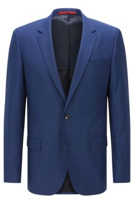 'C-Huge' | Slim Fit, Super 100 Italian Virgin Wool Suit Jacket, Blue