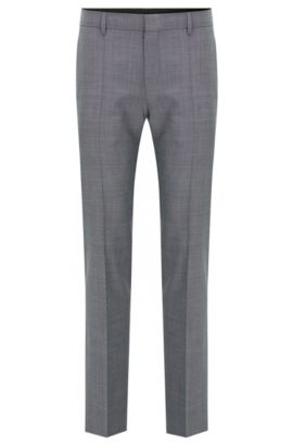 'C-Genius' | Slim Fit, Super 100 Virgin Wool Dress Pant, Open Grey