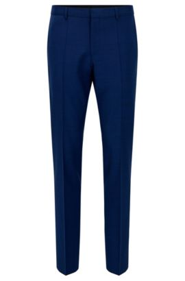 'C-Genius' | Slim Fit, Super 100 Virgin Wool Dress Pant, Blue