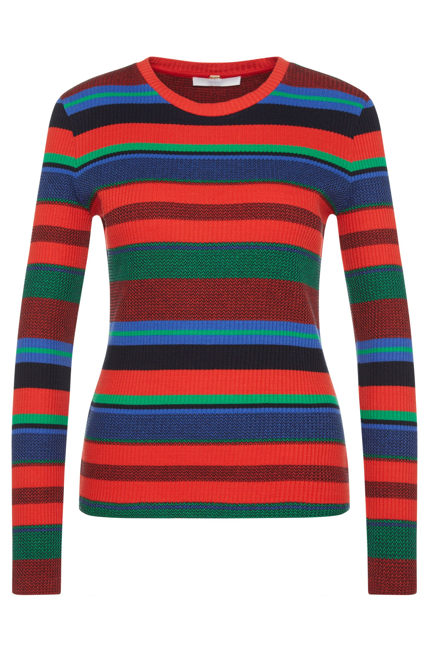 'Eriba' | Stretch Cotton Ribbed Striped Sweater