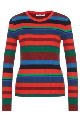 'Eriba' | Stretch Cotton Ribbed Striped Sweater, Patterned