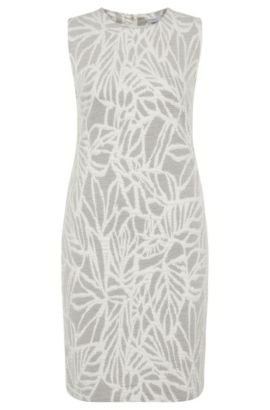 'Epalla' | Stretch Cotton Jacquard Shift Dress , Patterned