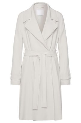 'Cafyna' | Crepe Satin Back Belted Trench Coat, Silver