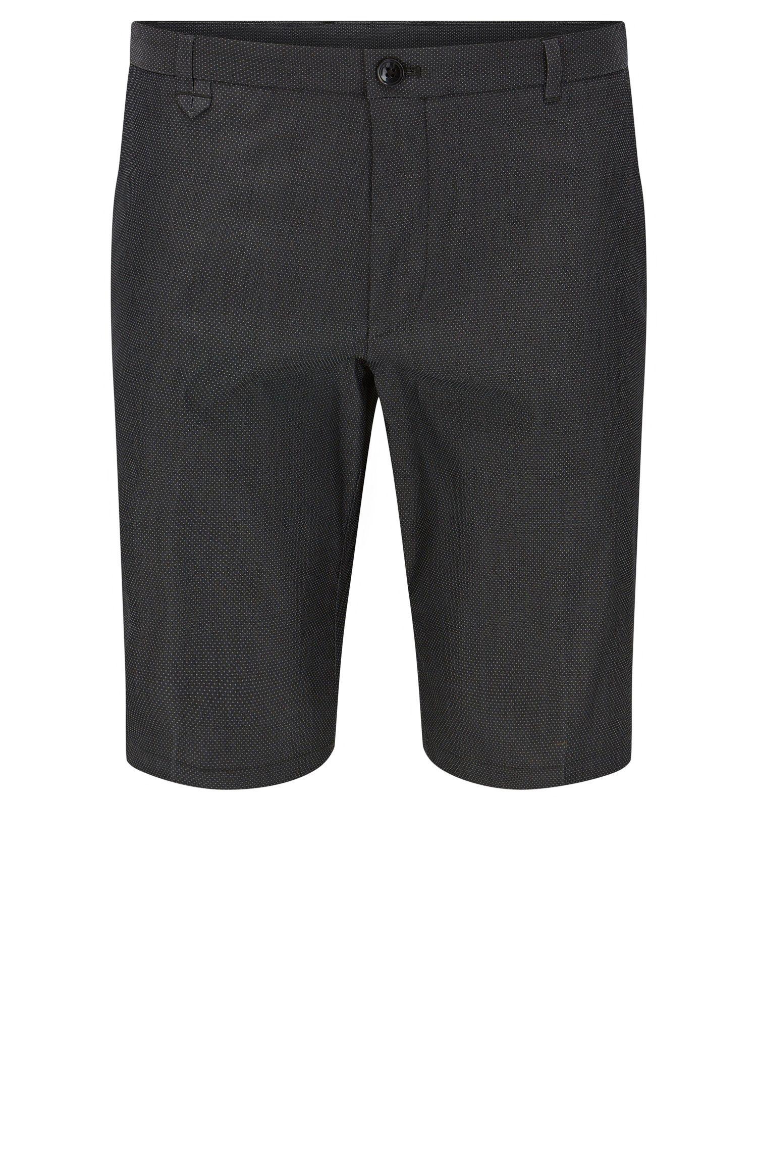 'Hano3' | Slim Fit, Pindot Stretch Cotton Blend Short