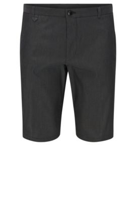 'Hano3' | Slim Fit, Pindot Stretch Cotton Blend Short, Dark Grey