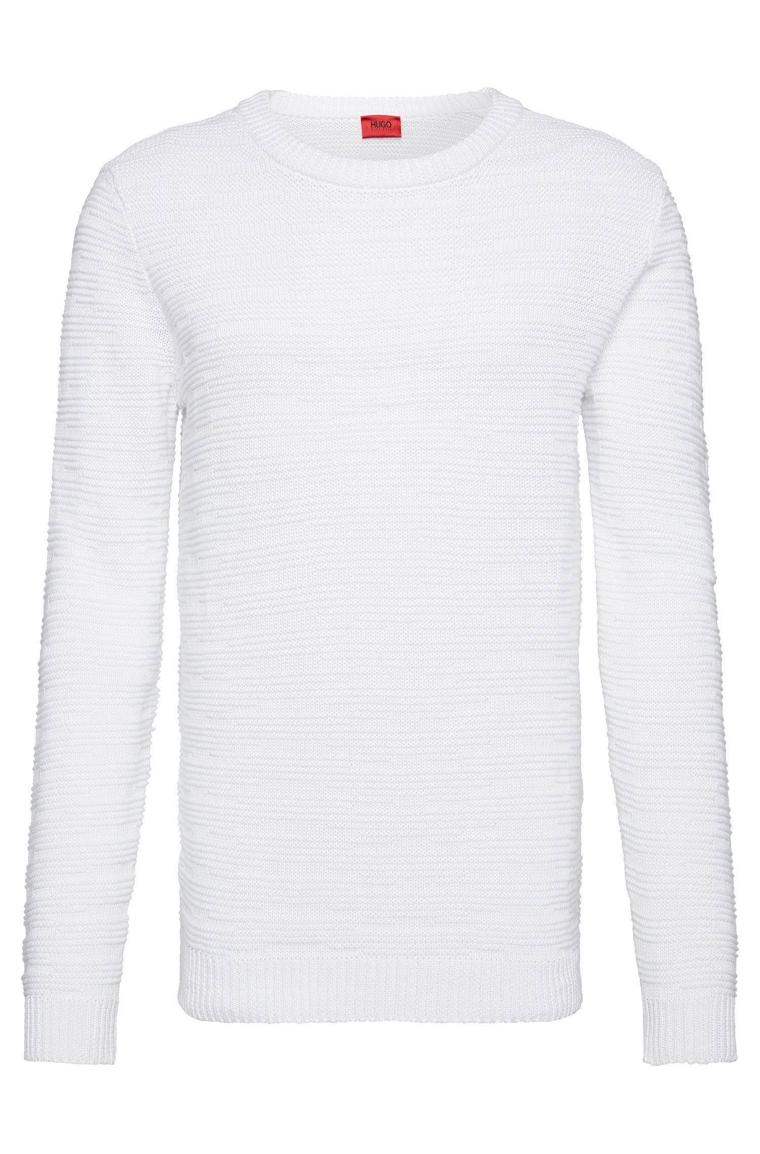 'Soleron' | Oversized Fit, Crewneck Linen Cotton Blend Knit Sweater