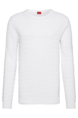 'Soleron' | Oversized Fit, Crewneck Linen Cotton Blend Knit Sweater, White