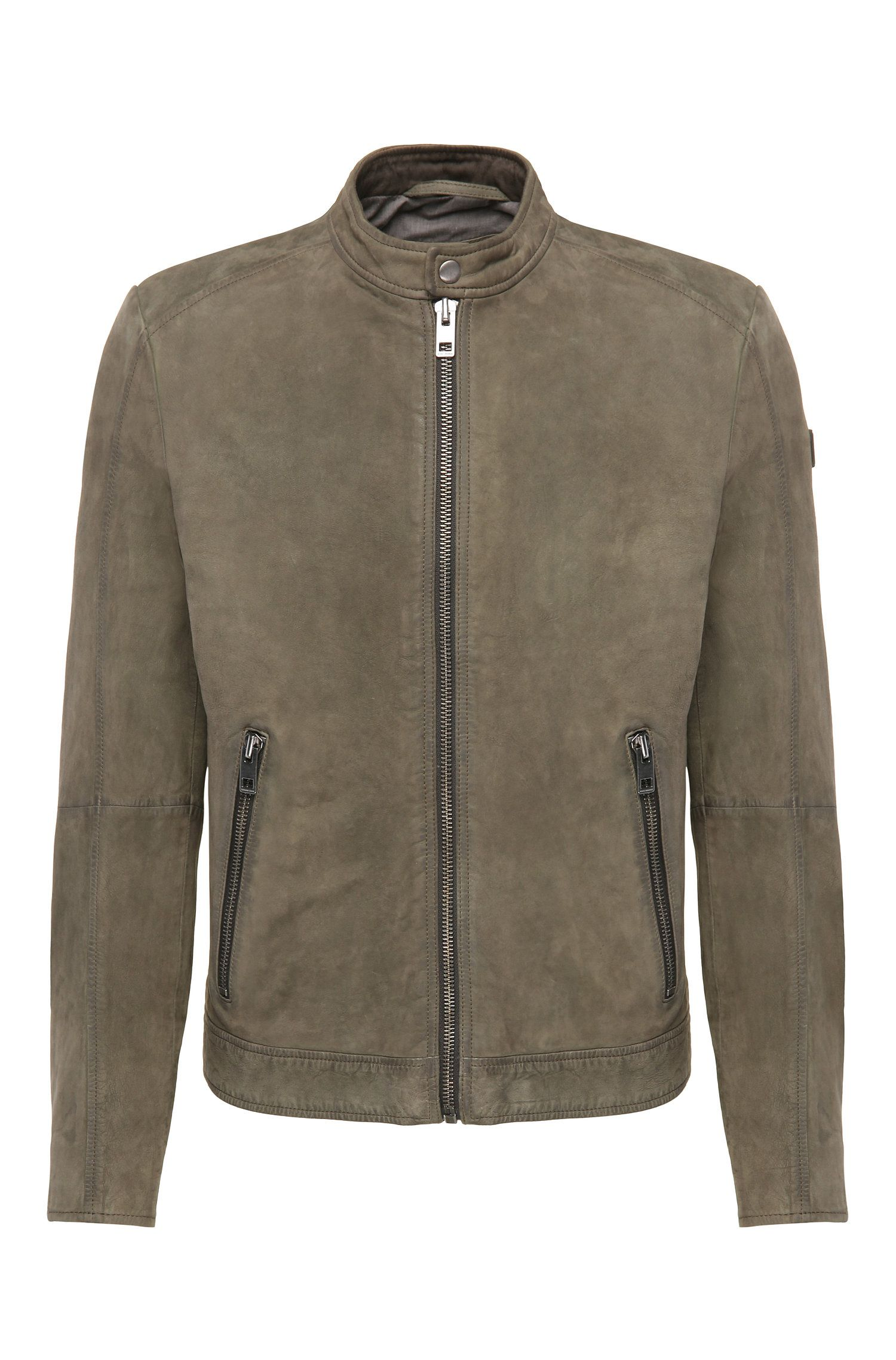 'Jonate' | Slim Fit, Sheepskin Biker Jacket