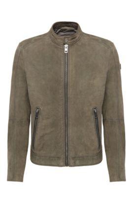 'Jonate' | Slim Fit, Sheepskin Biker Jacket, Dark Green