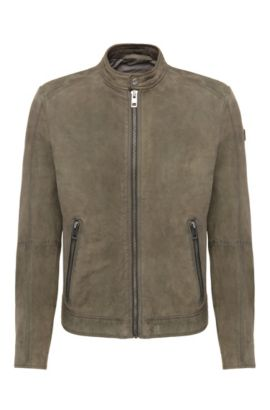 'Jonate' | Slim Fit, Sheepskin Biker Jacket, Dark Green