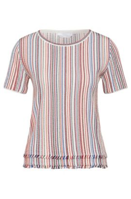 'Fina' | Cotton Blend Multi-Stripe Fringed Blouse, Patterned