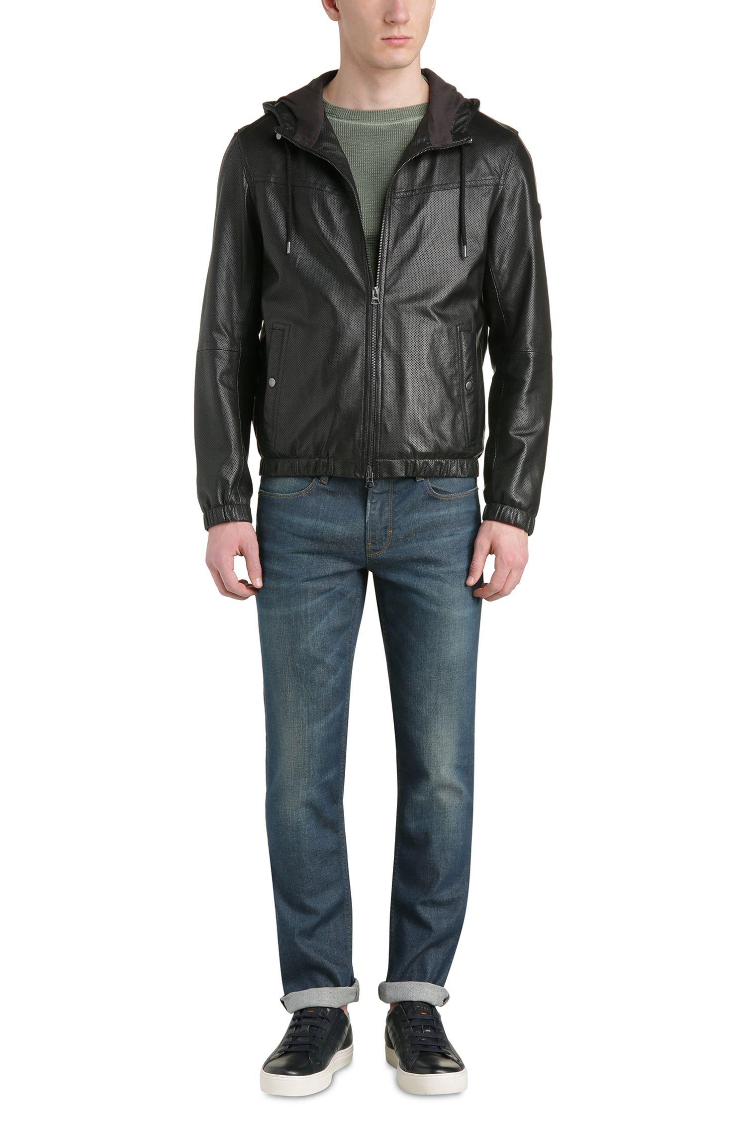 Lambskin Perforated Hooded Blouson Jacket | Jainee