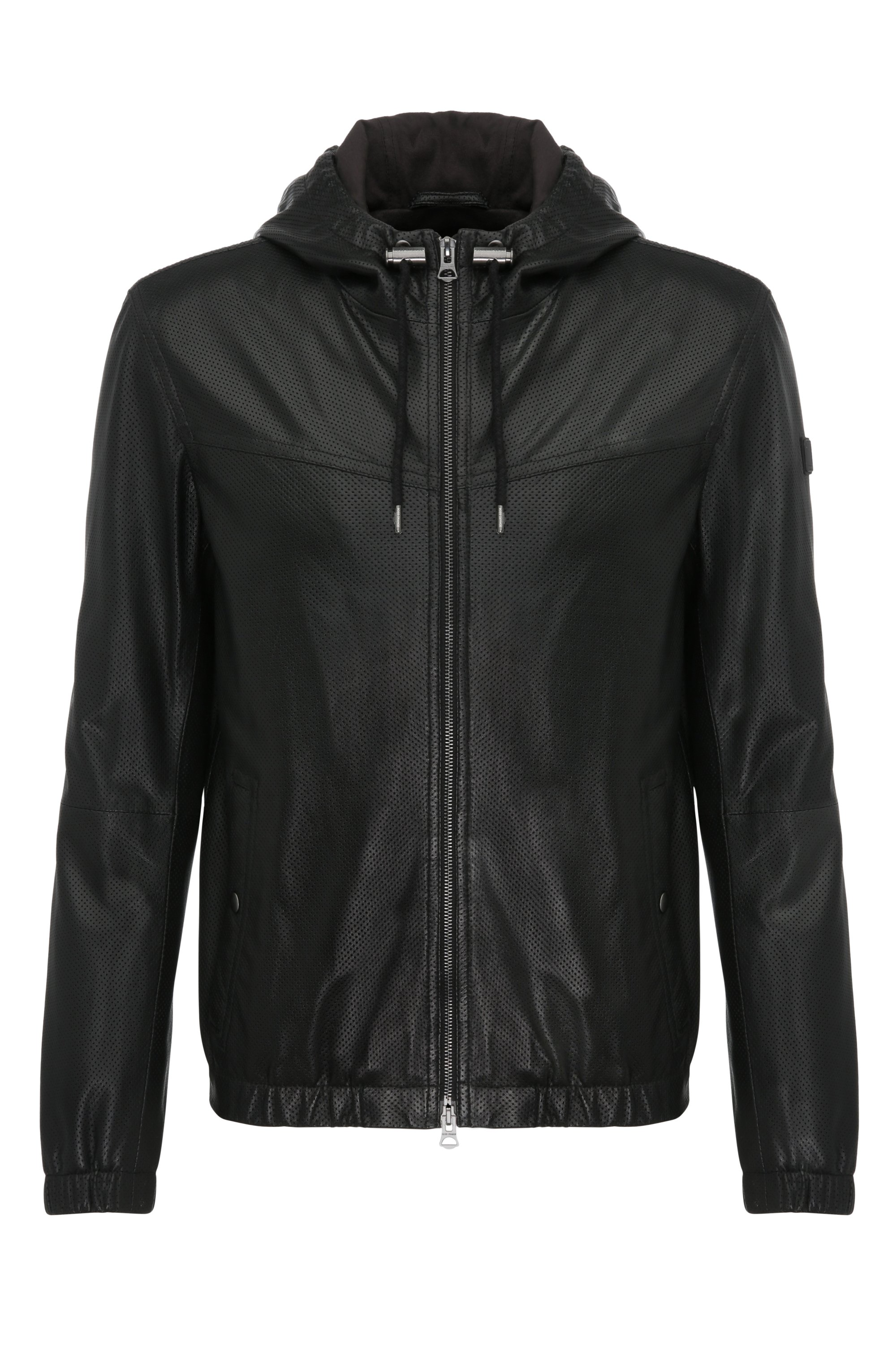 Lambskin Perforated Hooded Blouson Jacket | Jainee, Black
