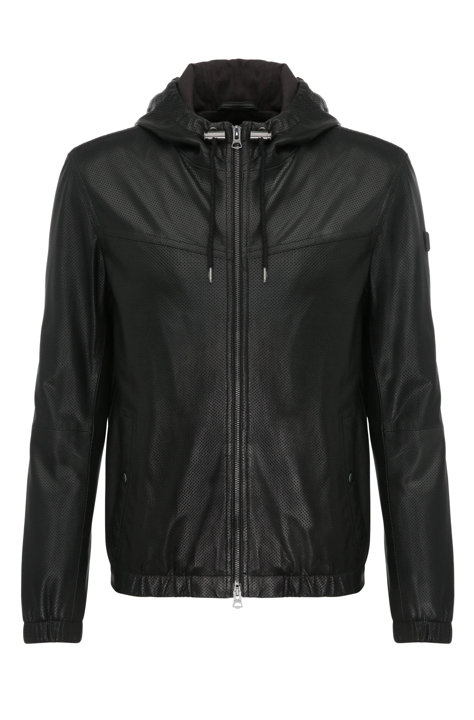 Lambskin Perforated Hooded Blouson Jacket | Jainee, Black