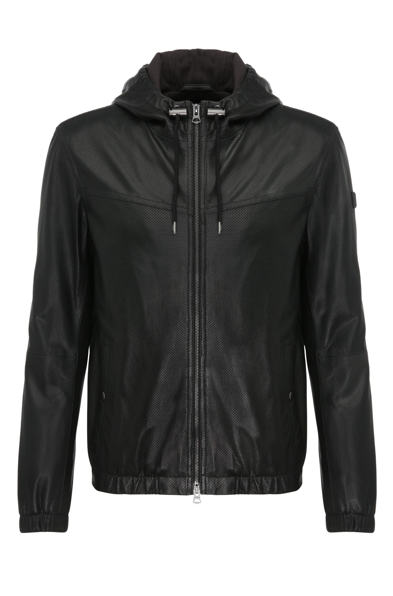 'Jainee' | Lambskin Perforated Hooded Blouson Jacket
