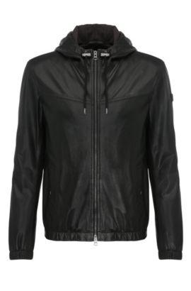 'Jainee' | Lambskin Perforated Hooded Blouson Jacket, Black